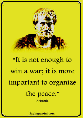 """Battle Quotes - """"It is not enough to win a war; it is more important to organize the peace."""" —Aristotle"""