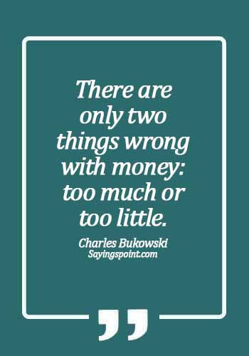 Money Quotes - There are only two things wrong with money: too much or too little. - Charles Bukowski
