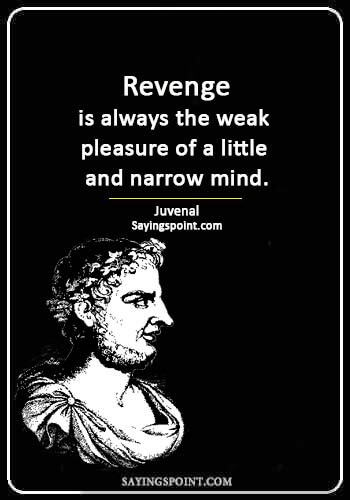 """Revenge Quotes -  """"Revenge is always the weak pleasure of a little and narrow mind."""" —Juvenal"""