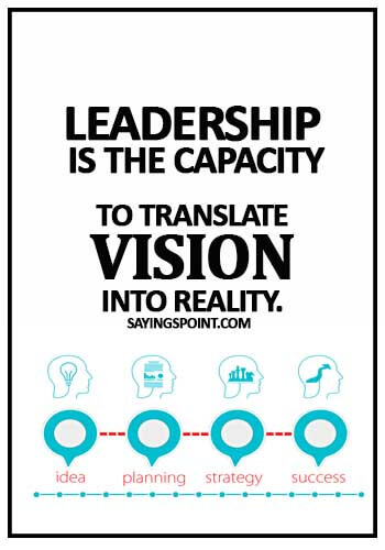 Sayings about Leadership - Leadership is the capacity to translate vision into reality.