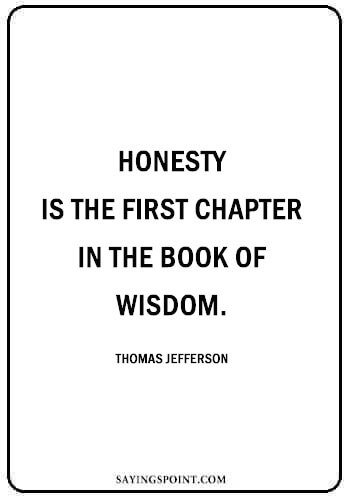 """Honesty Quotes - """"Honesty is the first chapter in the book of wisdom."""" —Thomas Jefferson"""