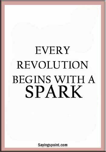 Fire Sayings - Every revolution begins with a spark.
