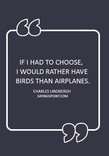 "Airplane Sayings - ""If I had to choose, I would rather have birds than airplanes."" —Charles Lindbergh"