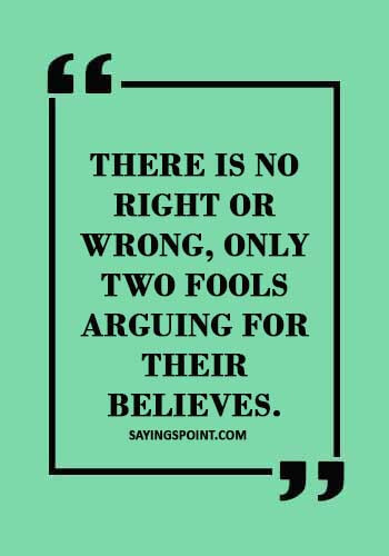 """quotes about arguing with fools - """"There is no right or wrong, only two fools arguing for their believes."""""""