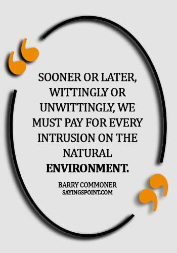 quotes on environment day - Sooner or later, wittingly or unwittingly, we must pay for every intrusion on the natural environment.