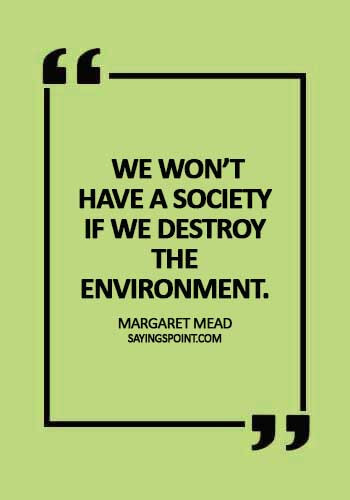 "Save Environment Sayings -  ""We won't have a society if we destroy the environment."" —Margaret Mead"