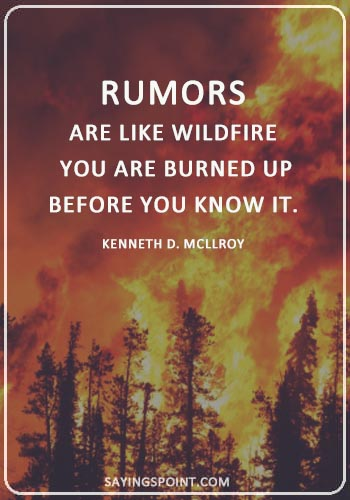 """Rumor Sayings - """"Rumors are like wildfire; you are burned up before you know it."""" —Kenneth D. Mcllroy"""