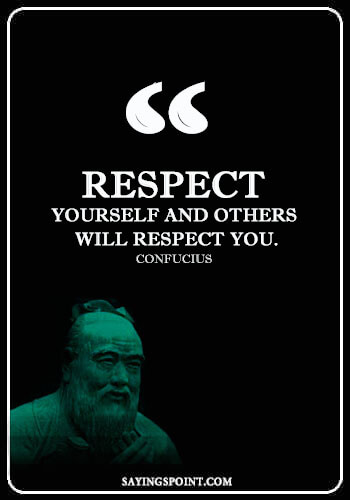 """Respect Sayings and Quotes - """"Respect yourself and others will respect you."""" —Confucius"""