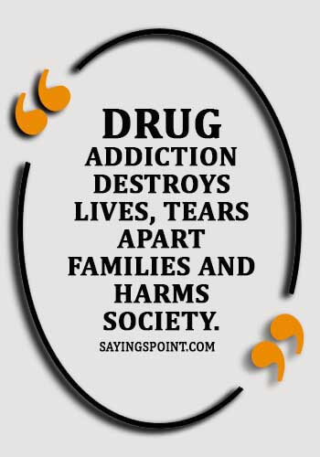 """Say no to drugs Quotes -""""Drug addiction destroys lives, tears apart families and harms society."""""""
