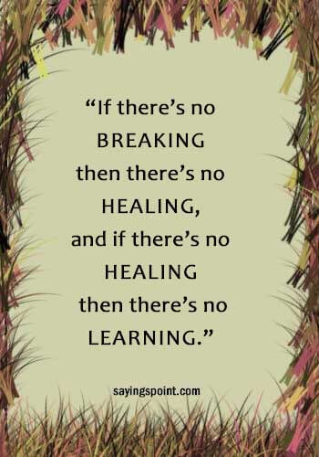 "Inspirational Healing Quotes - ""If there's no breaking then there's no healing, and if there's no healing then there's no learning."" —Unknown"