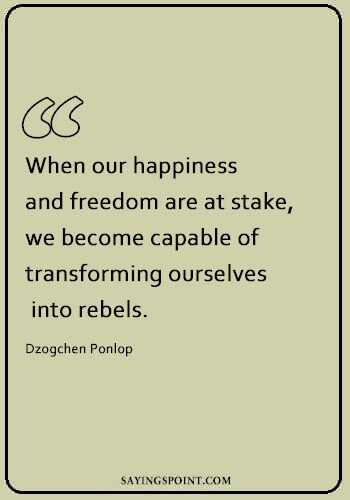 "rebel status - ""When our happiness and freedom are at stake, we become capable of transforming ourselves into rebels."" —Dzogchen Ponlop"
