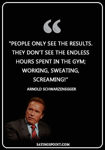 """Gym Quotes Bodybuilding - """"People Only See The Results. They don't see the endless hours spent in the gym; working, sweating, screaming!"""" —Arnold Schwarzenegger"""