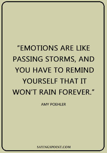 """Cute Rainy day Quotes - """"Emotions are like passing storms, and you have to remind yourself that it won't rain forever."""" —Amy Poehler"""