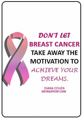 """breast cancer inspirational quotes - """"Don't let breast cancer take away the motivation to achieve your dreams."""" —Diana Cohen"""