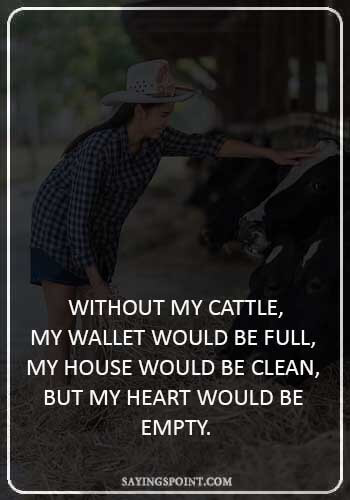 """Cow Quotes -  """"Without my cattle, my wallet would be full, my house would be clean, but my heart would be empty."""""""