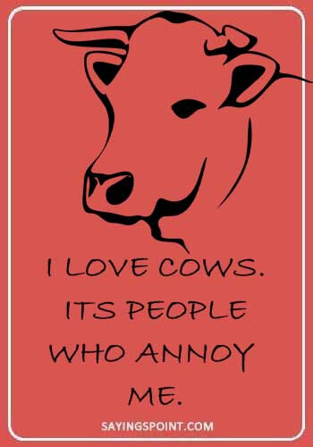 cattle farmer quotes - I love cows. Its people who annoy me.