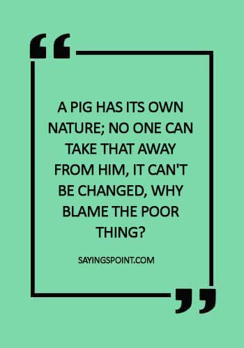 """Pig Quotes - Pig Sayings - """"A pig has its own nature; no one can take that away from him, it can't be changed, why blame the poor thing?"""""""