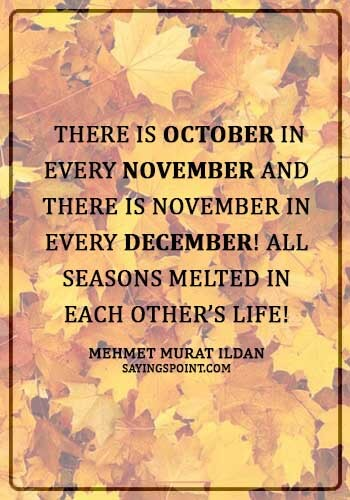 """quotes on november born -  """"There is October in every November and there is November in every December! All seasons melted in each other's life!"""" —Mehmet Murat ildan"""