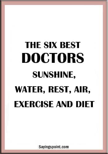 Doctor Quotes - The six best doctors: Sunshine, Water, Rest, Air, Exercise and diet.