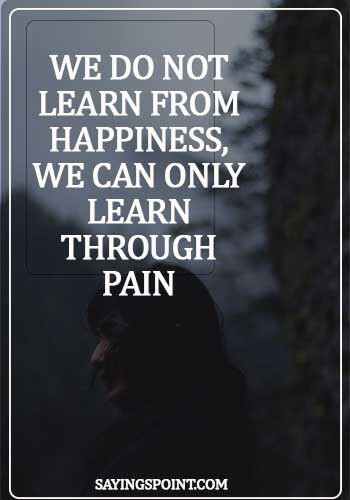 Pain Sayings - We do not learn from happiness, we can only learn through pain