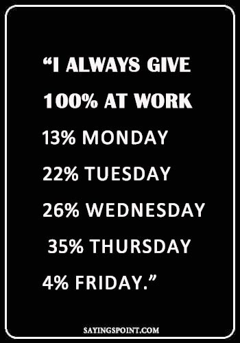 "Thursday Sayings - ""I always give 100% at work: 13% Monday, 22% Tuesday, 26% Wednesday, 35% Thursday, 4% Friday."" —Unknown"