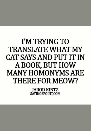 Funny Cat Quotes - I'm trying to translate what my cat says and put it in a book, but how many homonyms are there for meow? - Jarod Kintz