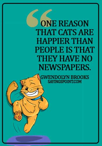 funny cat quotes and sayings - One reason that cats are happier than people is that they have no newspapers. - Gwendolyn Brooks