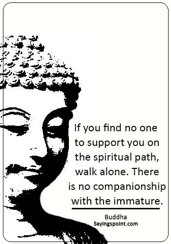 "Immature Sayings - ""If you find no one to support you on the spiritual path, walk alone. There is no companionship with the immature."" —Buddha"