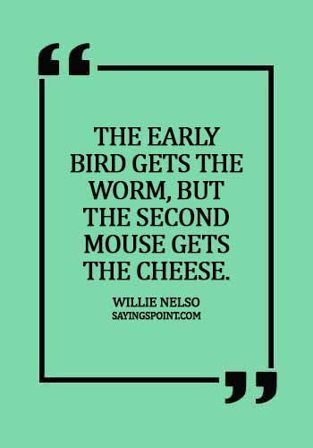 Cheese Sayings - The early bird gets the worm, but the second mouse gets the cheese.- Willie Nelso