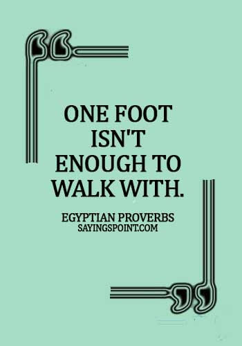 quotes from ancient egyptian pharaohs -  One foot isn't enough to walk with. - Egyptian Proverbs