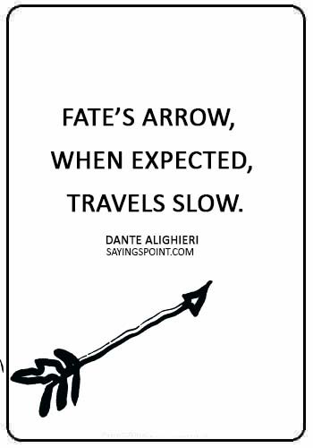 "Arrow Quotes -""Fate's arrow, when expected, travels slow."" —Dante Alighieri"