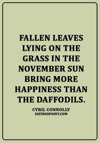 "November Quotes - ""Fallen leaves lying on the grass in the November sun bring more happiness than the daffodils."" —Cyril Connolly"