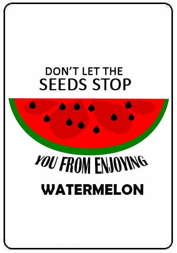 Watermelon Quotes - Don't let the seeds stop you from enjoying watermelon.